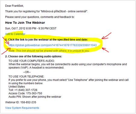 Email webináře